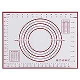 Masterein Antiadhésives de qualité Alimentaire Slicone pétrir roulement Tapis Double échelles de Mesure de Cuisson Tapis de Cuisine Accessoires Rouge 40x30cm