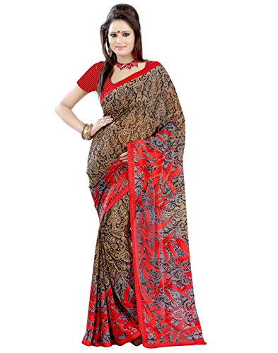 Daily wear Saree Below 500 Black Beige Red Color Faux Georgette Material Floral Print Sari With Red Faux Georgette Blouse Fabric  available at amazon for Rs.344