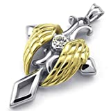 KONOV Schmuck Edelstahl Engel Flügel Kreuz Anhänger mit 60cm Kette, Halskette für Herren Damen, Gold Silber