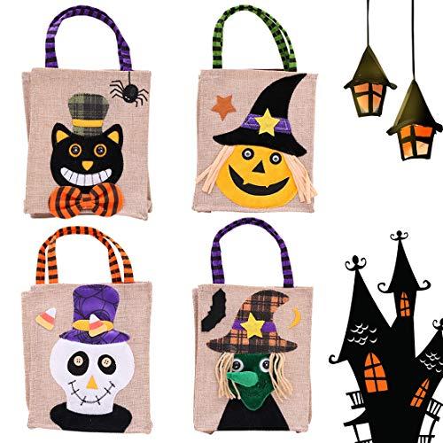 he, 4 Packs Trick or Treat Taschen Süßigkeitstaschen Sackleinen-Geschenk-Tasche in der schwarzen Katze Hexe-Kürbis-Muster, Halloween-Dekorationen Partei-Bevorzugungen Spielwaren für Kinderkinder ()