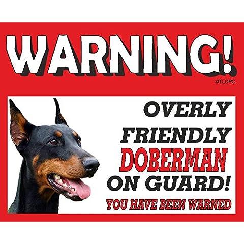 Dóberman (Recortar La imagen orejas) perro guardián METAL SIGN 94