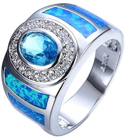 SaySure 925 Sterling Silver Filled Aquamarine Wedding & Engagement Ring