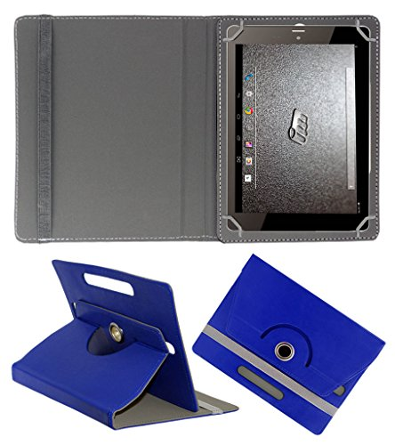 ACM ROTATING 360° LEATHER FLIP CASE FOR MICROMAX CANVAS TAB P666 TABLET STAND COVER HOLDER DARK BLUE