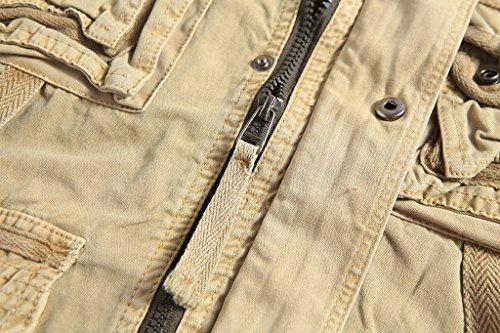 Elonglin Homme Coton Gilet Vest Sans Manches Multi-Poches Sport Photographie Pêche Randonnée Kaki