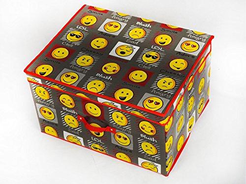 Velosso große Kinder Spielzeugtruhe Kinderzimmer Aufbewahrungsbox Expressions Smiley Emoticons Faces grau schwarz grau -