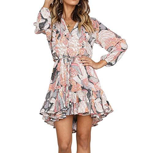 Vestiti Donna Elegante Cerimonia 1 2 Lunghi Maniche con Una Cintura Sera  Abito Retro in cf5fda04f65