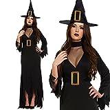 Longue Sorcière Noire tenue Fancy Dress costume d'Halloween (38-44)