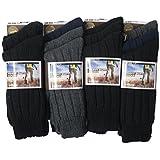 6pairs Mens Chunky Ribbed Wool Blend Heavey Duty Outdoor Work Wear Hike Boot Walking Socks Shoe Size 6-11