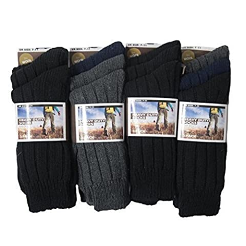 6pairs Mens Chunky Ribbed Wool Blend Heavey Duty Outdoor Work Wear Hike Boot Walking Socks Assorted Colours