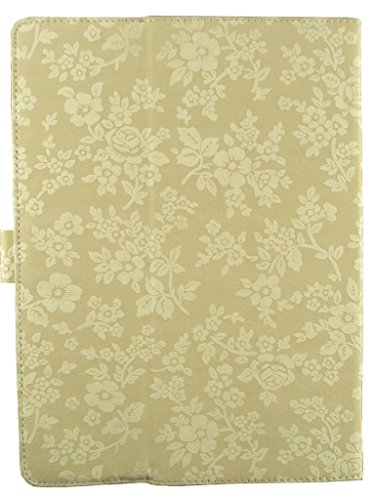 Emartbuy® Zync Z900 Plus Quad Core 3G Calling Tablet 7 Inch Universal Range Beige Vintage Floral Multi Angle Executive Folio Wallet Case Cover With Card Slots + Stylus