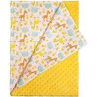 Blanco–Manta de bebé jirafa, elefante y pájaro Animales con Plain amarillo textura parte inferior. Tamaño: 100CMX 75cm