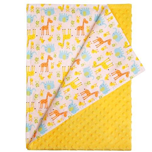 Weiß Taggie (Weiß Baby Decke - Tiere Giraffe, Elefant und Chick, die Uni, gelb Strukturierte Unterseite. Größe: 100 cmx 75 cm)