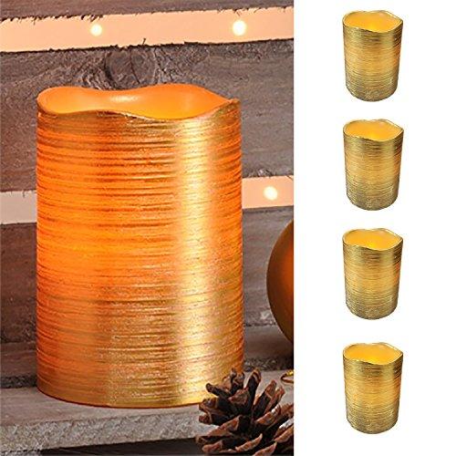 4er SetLED-Wachs-Kerzen-Set Leuchten Wachs Flammenlos Gold gelb flackernedem Licht ØxH ca. 7,5 x 10 cm