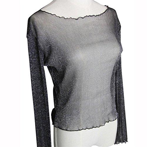 CYBERRY.M Blouse T-shirt Été Femme Manches Longues Trasparente Bikini Cover Up Chemise Top Noir