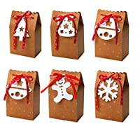 Happyyami 6pcs Christmas Cookie Boxes Christmas Candy Favor Boxes Mini Kraft Paper Christmas Gift Boxes with Ribbon and White Tag