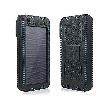 Chargeur alimentation solaire tingso 20000mAh externe portable Téléphone portable Chargeur double USB Chargeur solaire batterie Panneau solaire étanche Power Bank avec chargeur allume-cigare et fonction d'éclairage pour iPhone iPad Samsung Téléphones portables