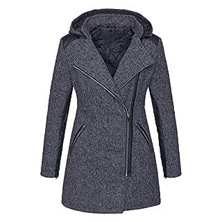Yvelands Damen warme dünne Jacke dicken Parka Mantel Winter Outwear mit Kapuze Reißverschluss Mantel (EU-38/XL,Grau3)