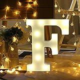 erthome LED Brief Weiß Lichter Alphabet Leuchten Kunststoff Buchstaben Stehen Hängen A-Z Home Party Decor (F)