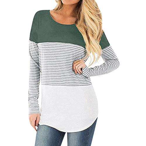 Topgrowth maglia premaman mamma incinta maglietta a righe maniche lunghe t shirt donna casual blusa infermieristica top (verde, m)