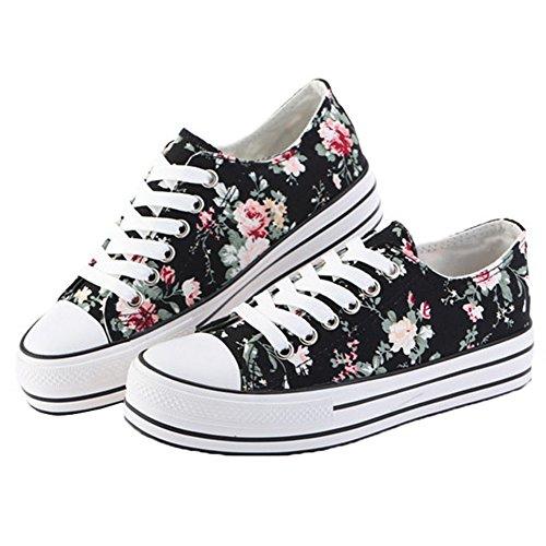Scothen Femmes Filles Chaussures Sneakers Fleurs Sneakers Classique Low Top Chaussures sport Sneakers espadrilles chaussures toile fleur motif chaussures hautes toile espadrille plein air Sporty Noir