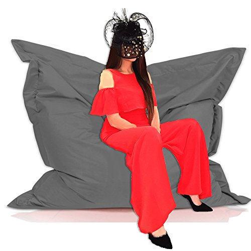 Sitzsack Sessel Riesensitzsack XXL 180 x 145 cm mit Füllung - für Kinder und erwachsene - In & Outdoor Sitzsäcke Kissen Sofa Hocker Sitzkissen Bodenkissen (ca. 180 x 145 cm, Anthrazit)