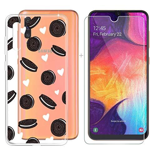 """JIENI Custodia per Samsung Galaxy A50 Crystal Morbido TPU Transparente Silicone Case Cover + Pellicola Protettiva in Vetro Temperato per Samsung Galaxy A50 (6.40"""") - WM117"""