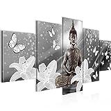 Bilder Buddha Blumen Wandbild 200 x 100 cm Vlies - Leinwand Bild XXL Format Wandbilder Wohnzimmer Wohnung Deko Kunstdrucke Grau 5 Teilig -100% MADE IN GERMANY - Fertig zum Aufhängen 505651c