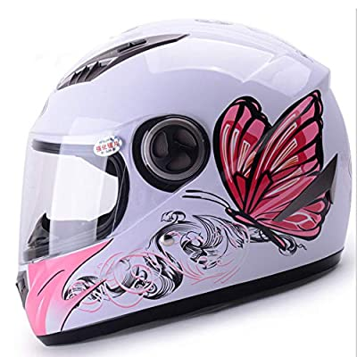 YSH Helmet New Butterfly Pattern Flip Up Helmet Motorcycle Electric Bicycle Girl Women Style Full Half Face by YSH