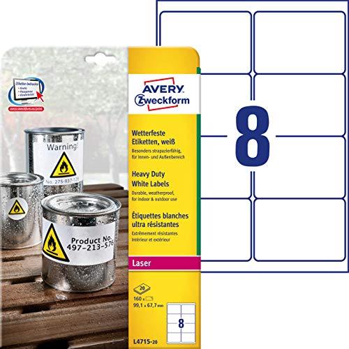 Avery Zweckform L4715-20 - Etichette impermeabili, 99,1 x 67,7 mm, 20 fogli per un totale di 160 targhette, colore: Bianco