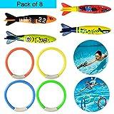 YIMORE Subacquea Nuotare Immersione Giocattolo Set di 8 pezzi Anelli Immersione e Torpedo Bandits, Gioco di biliardo per Bambini
