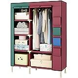 ZC&J Portable Clothes Closet Garderobe, Umweltschutz Vliesstoff-Abdeckung, Student Wohnung Kleidung Lagerschrank,A,51.1*74.8*17.7inch