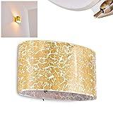 Goldene Wandleuchte Rapar in ovaler Form - aus Glas in Goldfarben mit Struktureffekt – Up & Down Wandspot für Wohnzimmer, Schlafzimmer - Wandstrahler E27-Fassung 60 Watt – Schalter am Gehäuse