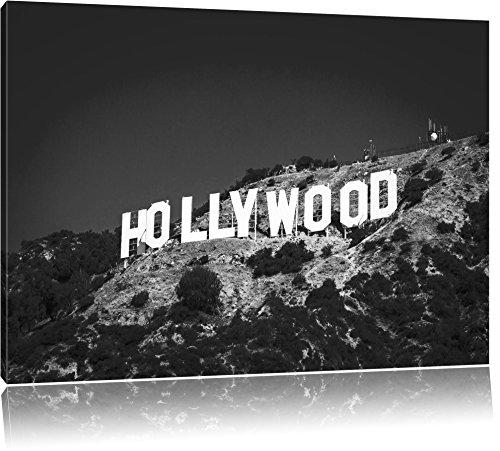 Wahrzeichen von Hollywood schwarz/weiß Format: 80x60 auf Leinwand, XXL riesige Bilder fertig gerahmt mit Keilrahmen, Kunstdruck auf Wandbild mit Rahmen, günstiger als Gemälde oder Ölbild, kein Poster oder Plakat