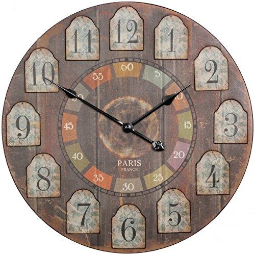 FineBuy Deko Vintage Wanduhr XXL Ø 60 cm France Holz bunt | Große Uhr rustikal Dekouhr rund | Design Retro Küchenuhr für Küche & Wohnzimmer (Große Bunte Wanduhr)