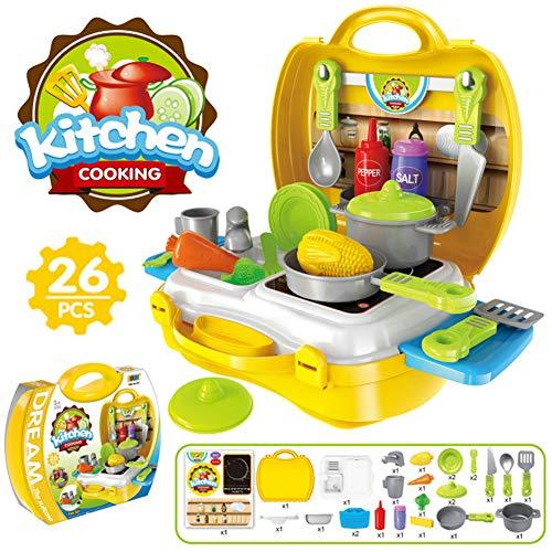 Buyger 26 Piezas Juguete Cocina Juego rol Cocina Frutas