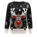 GENERATION FASHION UNISEXE NEUF femmes tricoté renne Rudolph Nouveauté Noël pull sweat tailles UK - Noir, Small