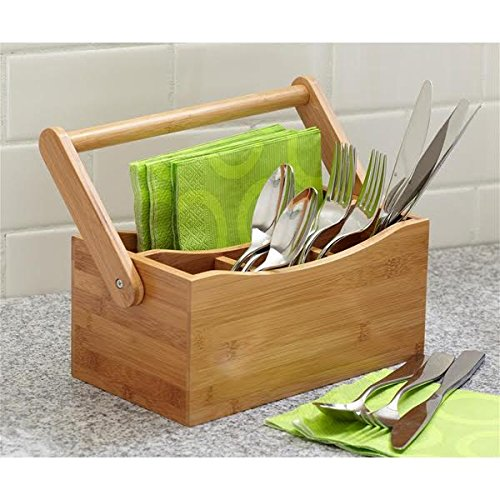 Woodluv 4 Compartments Drop-Down Handle Bamboo Kitchen Cutlery Caddy Utensil Rack Holder Organizer Divider