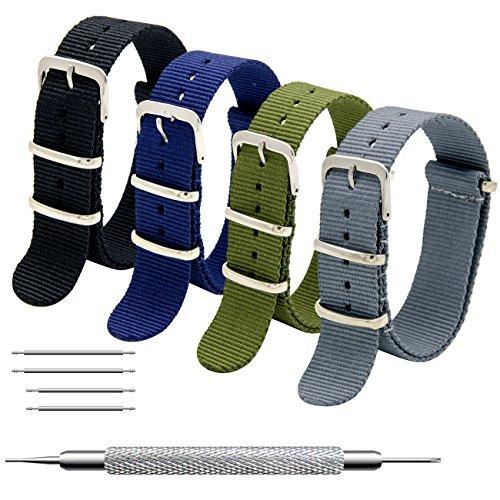 MEGALITH Uhrenarmband Packung mit 4 NATO Strap 16mm 18mm 20mm 22mm 24mm Ballistic Nylon Uhr Armband Zulu Uhrband mit Edelstahl Schnalle -