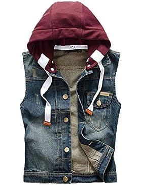95deade0b9748 Gilet Uomo Jeans Vintage Giubbotto Gilet Smanicato Jeans Panciotto Con  Staccabile Cappuccio Blu marino M