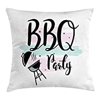 Deglogse BBQ Party Throw Pillow Cushion Cover, Outdoor Grilling Party Lettering with Pastel Stripes Background, Decorative Square Accent Pillow Case, Pale Blue Pale Pink Black