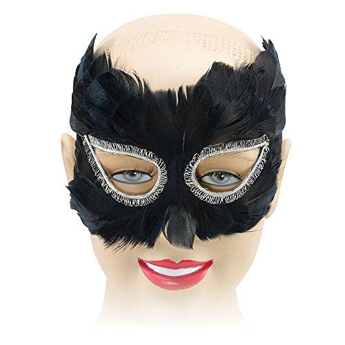 Bristol Novelty EM041 Feder Augenmaske, Schwarz, Damen, Einheitsgröße