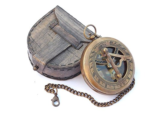 Vintage Kompass Sonnenuhr Antik massiv Messing compass|sundial gift|compass in einer box|compass outdoor|navigational Kompass mit Leder Fall Metall bronze