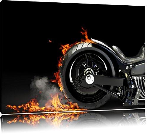 Pixxprint Motorrad Reifen 120x80cm Leinwandbild Wandbild Kunstdruck