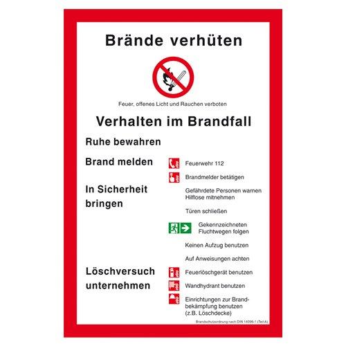 Preisvergleich Produktbild Brandschutzordung nach DIN 14096 Teil A Kunststoff (ISO) 300 x 200 mm