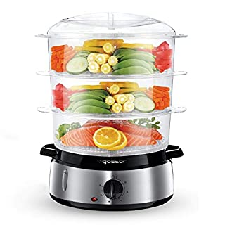 Aigostar Fitfoodie 30KHM - Electric Food Steamer, 800W, 3-Tier 9 L Capacity, 60-Minute Timer, Brushed Stainless Steel, Stackable Baskets, BPA Free, Exclusively Design.