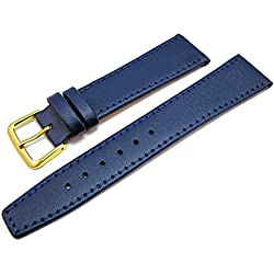 Blue Leather Watch Strap Band With A Stitched Edging And Nubuck Lining 20mm