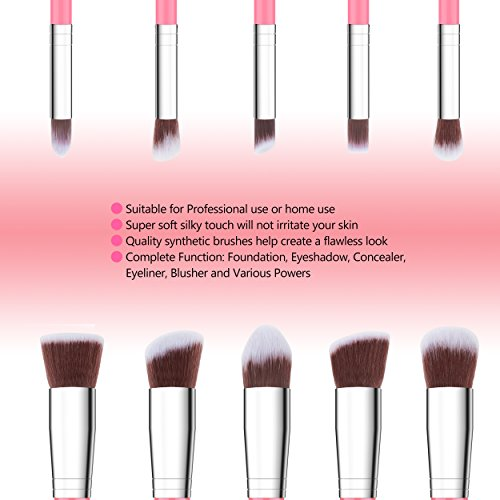Qivange Make-up Brush Set Synthetic Kabuki Cosmetic Foundation Eyeshadow Blush Concealer Powder Brush Makeup Brush Kit (10pcs, Pink with Silver)