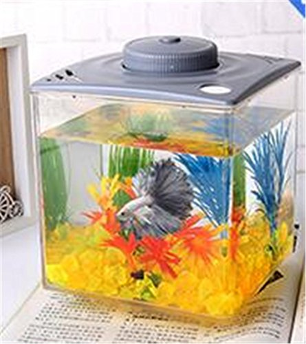 3L Desktop Mini Eco Power Plant interno di illuminazione acquario Desktop integrato regalo creativo Fish Tank , brown