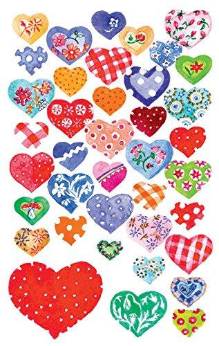 1 - Papier Sticker beglimmert Herzen, Dekosticker, Aufkleber, selbstklebend, Glitzer, Gastgeschenke, Mitgebsel, Scrapbooking, Bullet Journal Zubehör,  Hochzeit, 78 Sticker ()
