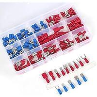 Jasnyfall Caja de terminales de tubo de 140 piezas, mezclada 15 modelos Bloque de terminales del cable terminal de engarce Multicolor